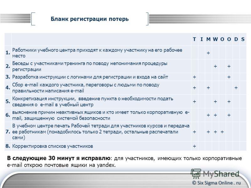 © Six Sigma Online. ru Бланк регистрации потерь Формирование группы участников Контроль за прохождением тренинга до конца Координирование действий участников TIMWOODS 1. Работники учебного центра приходят к каждому участнику на его рабочее место + 2.