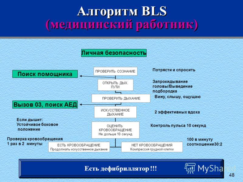 48 Алгоритм BLS (медицинский работник) Потрясти и спросить Запрокидывание головы/Выведение подбородка Вижу, слышу, ощущаю 2 эффективных вдоха Контроль пульса 10 секунд Если дышит: Устойчивое боковое положение Проверка кровообращения 1 раз в 2 минуты