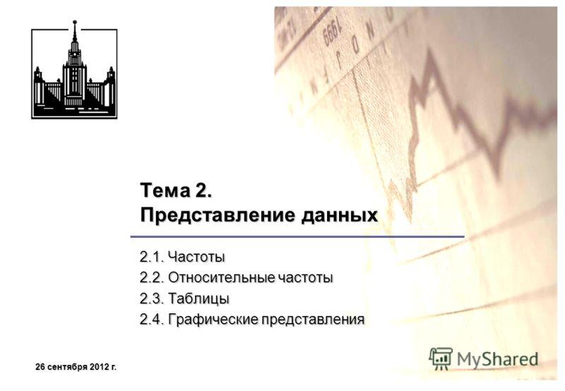 26 сентября 2012 г.26 сентября 2012 г.26 сентября 2012 г.26 сентября 2012 г. Тема 2. Представление данных 2.1. Частоты 2.2. Относительные частоты 2.3. Таблицы 2.4. Графические представления