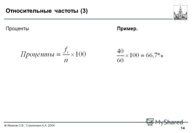 14 Иванов О.В., Соколихин А.А. 2004 Относительные частоты (3) ПроцентыПример.