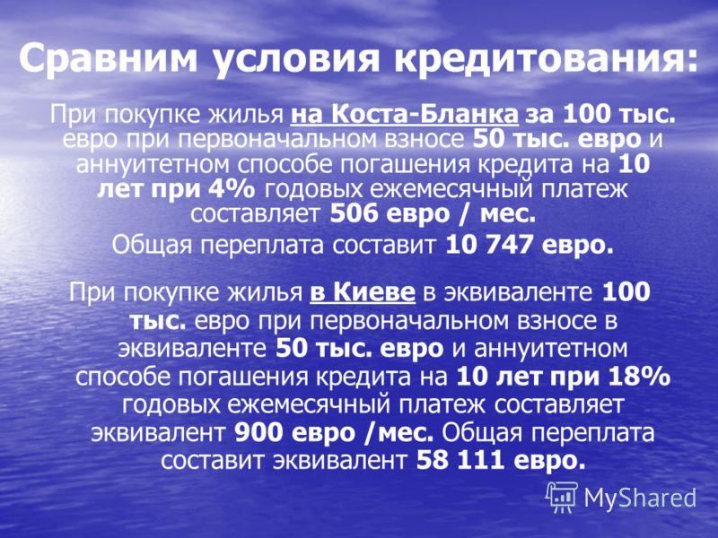 Сравним условия кредитования: При покупке жилья в Киеве в эквиваленте 100 тыс. евро при первоначальном взносе в эквиваленте 50 тыс. евро и аннуитетном способе погашения кредита на 10 лет при 18% годовых ежемесячный платеж составляет эквивалент 900 ев