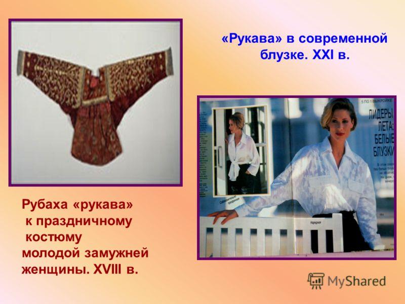 Рубаха «рукава» к праздничному костюму молодой замужней женщины. XVIII в. «Рукава» в современной блузке. XXI в.