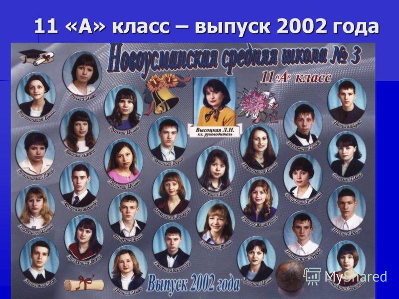 11 «А» класс – выпуск 2002 года