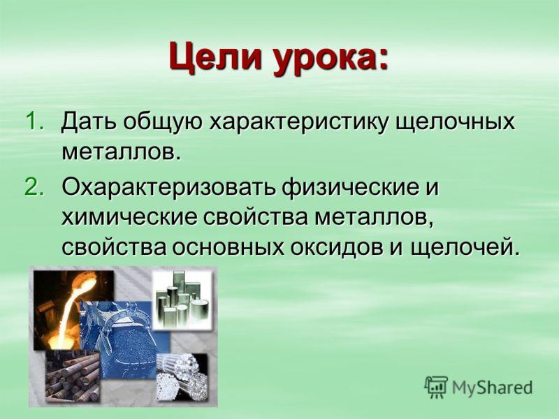 щелочных металлов. 2.