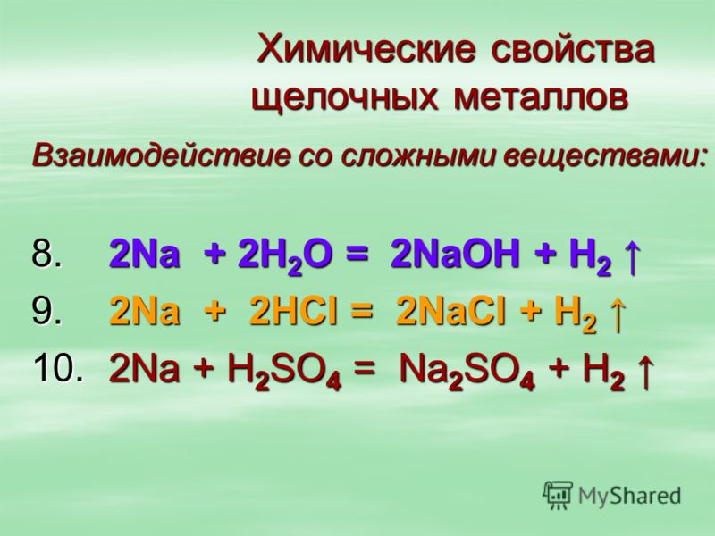 Химические свойства щелочных металлов Химические свойства щелочных металлов Взаимодействие со сложными веществами: 8. 2Na + 2Н 2 О = 2NaОН + Н 2 8. 2Na + 2Н 2 О = 2NaОН + Н 2 9. 2Na + 2НСI = 2NaСI + Н 2 9. 2Na + 2НСI = 2NaСI + Н 2 10. 2Na + Н 2 SО 4