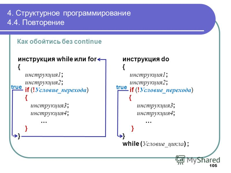 4. Структурное программирование 4.4. Повторение Как обойтись без continue инструкция while или for { инструкция1 ; инструкция2 ; if (! Условие_перехода ) { инструкция3 ; инструкция4 ; … } инструкция do { инструкция1 ; инструкция2 ; if (! Условие_пере
