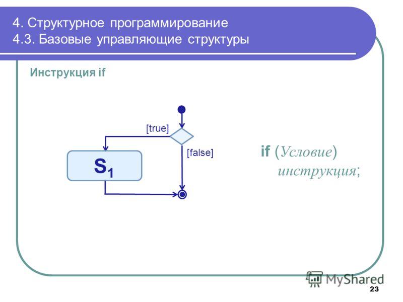 4. Структурное программирование 4.3. Базовые управляющие структуры Инструкция if if ( Условие ) инструкция ; [true] [false] S1S1 23