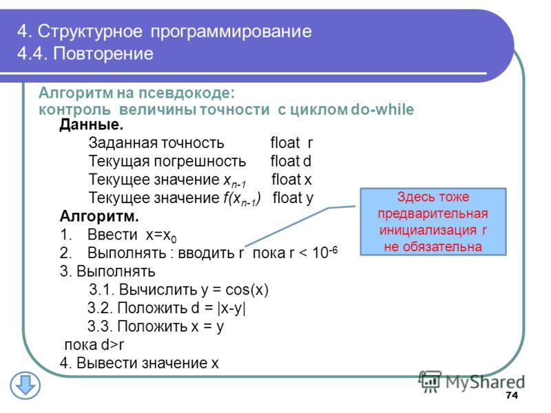 4. Структурное программирование 4.4. Повторение Данные. Заданная точность float r Текущая погрешность float d Текущее значение x n-1 float x Текущее значение f(x n-1 ) float y Алгоритм. 1.Ввести x=x 0 2.Выполнять : вводить r пока r < 10 -6 3. Выполня