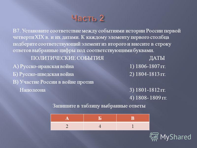 В 7. Установите соответствие между событиями истории России первой четверти XIX в. и их датами. К каждому элементу первого столбца подберите соответствующий элемент из второго и внесите в строку ответов выбранные цифры под соответствующими буквами. П