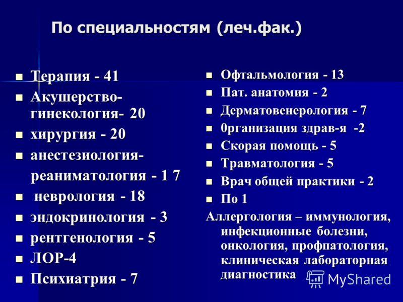 По специальностям (леч.фак.) Терапия - 41 Терапия - 41 Акушерство- гинекология- 20 Акушерство- гинекология- 20 хирургия - 20 хирургия - 20 анестезиология- анестезиология- реаниматология - 1 7 реаниматология - 1 7 неврология - 18 неврология - 18 эндок