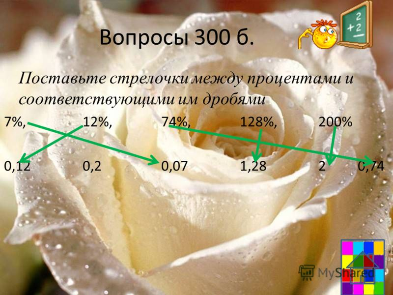 Вопросы 300 б. Поставьте стрелочки между процентами и соответствующими им дробями 7%,12%,74%,128%,200% 0,120,20,071,2820,74