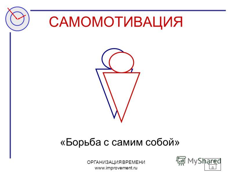 ОРГАНИЗАЦИЯ ВРЕМЕНИ www.improvement.ru САМОМОТИВАЦИЯ «Борьба с самим собой»