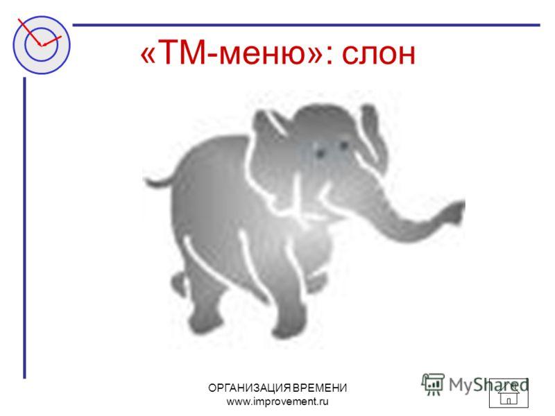 ОРГАНИЗАЦИЯ ВРЕМЕНИ www.improvement.ru «ТМ-меню»: слон