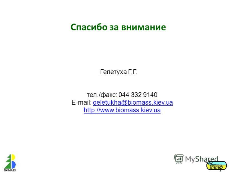 Гелетуха Г.Г. тел./факс: 044 332 9140 E-mail: geletukha@biomass.kiev.ua http://www.biomass.kiev.uageletukha@biomass.kiev.ua http://www.biomass.kiev.ua Спасибо за внимание