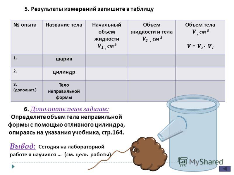 5. Результаты измерений запишите в таблицу опытаНазвание телаНачальный объем жидкости V 1, см 3 Объем жидкости и тела V 2, см 3 Объем тела V, см 3 V = V 2 - V 1 1. шарик 2. цилиндр 3. ( дополнит.) Тело неправильной формы 6. Дополнительное задание: Оп