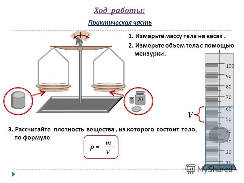 Ход работы : Практическая часть 1. Измерьте массу тела на весах. 2. Измерьте объем тела с помощью мензурки. 3. Рассчитайте плотность вещества, из которого состоит тело, по формуле ρ = m V 20 10 20 30 40 50 60 70 80 90 100 V