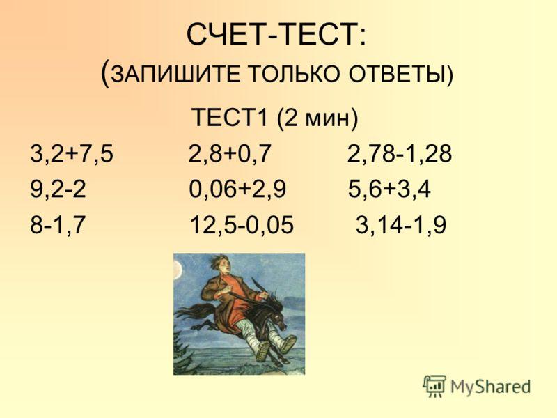 СЧЕТ-ТЕСТ: ( ЗАПИШИТЕ ТОЛЬКО ОТВЕТЫ) ТЕСТ1 (2 мин) 3,2+7,5 2,8+0,7 2,78-1,28 9,2-2 0,06+2,9 5,6+3,4 8-1,7 12,5-0,05 3,14-1,9