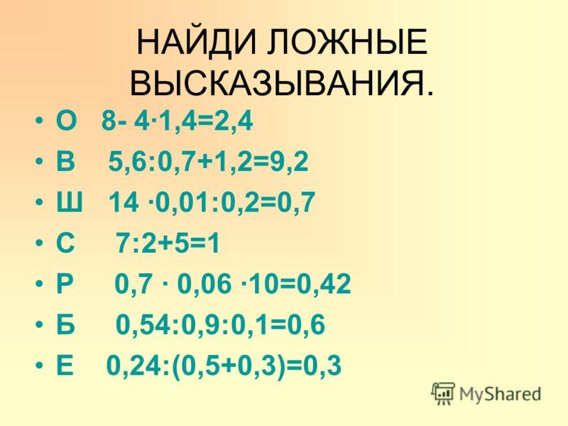 О 8- 41,4=2,4 В 5,6:0,7+1,2=9,2 Ш 14 0,01:0,2=0,7 С 7:2+5=1 Р 0,7 0,06 10=0,42 Б 0,54:0,9:0,1=0,6 Е 0,24:(0,5+0,3)=0,3 НАЙДИ ЛОЖНЫЕ ВЫСКАЗЫВАНИЯ.
