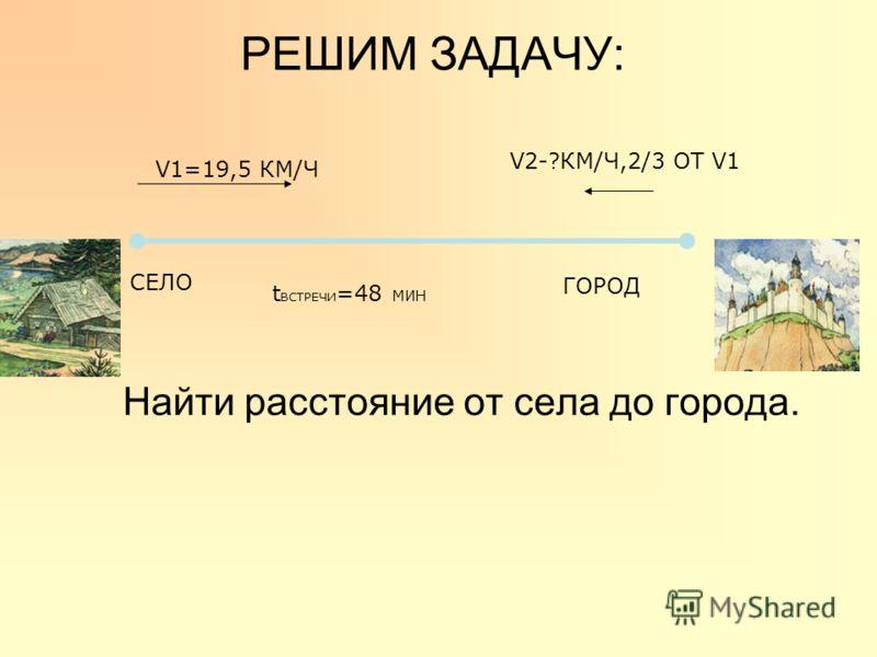РЕШИМ ЗАДАЧУ: Найти расстояние от села до города. СЕЛО V1=19,5 КМ/Ч t ВСТРЕЧИ =48 МИН V2-?КМ/Ч,2/3 ОТ V1 ГОРОД