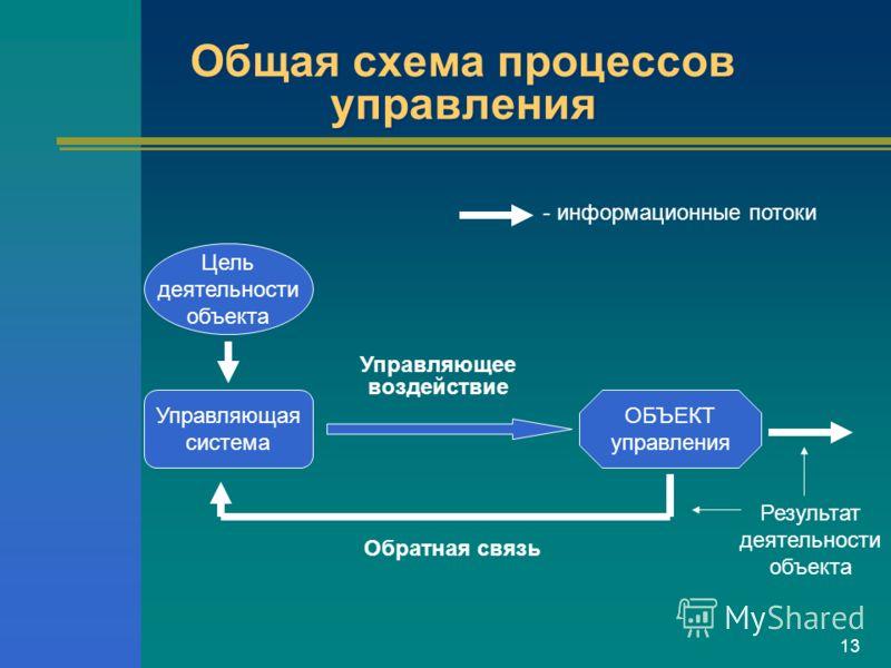 13 Общая схема процессов управления Результат деятельности объекта Управляющая система ОБЪЕКТ управления Управляющее воздействие Цель деятельности объекта Обратная связь - информационные потоки