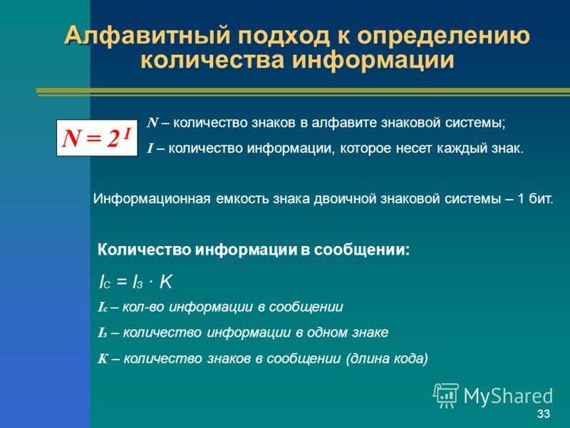 33 Алфавитный подход к определению количества информации N = 2 I N – количество знаков в алфавите знаковой системы; I – количество информации, которое несет каждый знак. Информационная емкость знака двоичной знаковой системы – 1 бит. Количество инфор