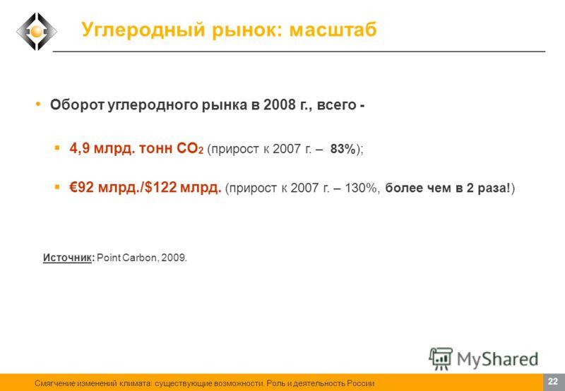 Смягчение изменений климата: существующие возможности. Роль и деятельность России 21 Механизмы сокращения выбросов ПГ Россия в этом вопросе пока заметно отстает. Хотя разговоры ведутся, до практических шагов дело не доходит Однако и у нас создан прец