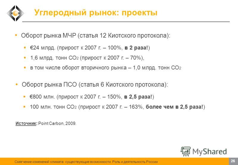 Смягчение изменений климата: существующие возможности. Роль и деятельность России 25 Углеродный рынок: торговля квотами Европейская схема торговли выбросами (EU ETS): ¾ всех углеродных сделок в мире по объему торговли 67 млрд. 3,1 млрд. тонн СО 2 Рег