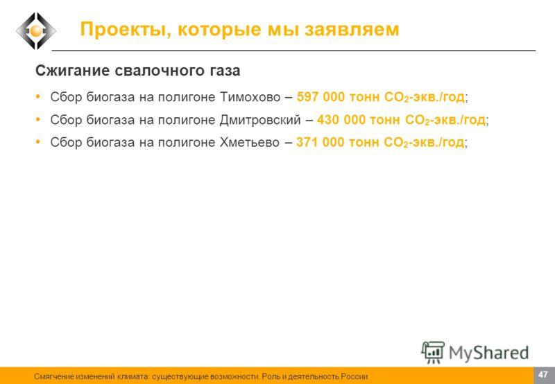 Смягчение изменений климата: существующие возможности. Роль и деятельность России 46 Проекты, которые мы заявляем Сжигание отбросных парниковых газов Организация сбора и совместного сжигания хладона-23 и гексафторида серы на Заводе полимеров Кирово-Ч