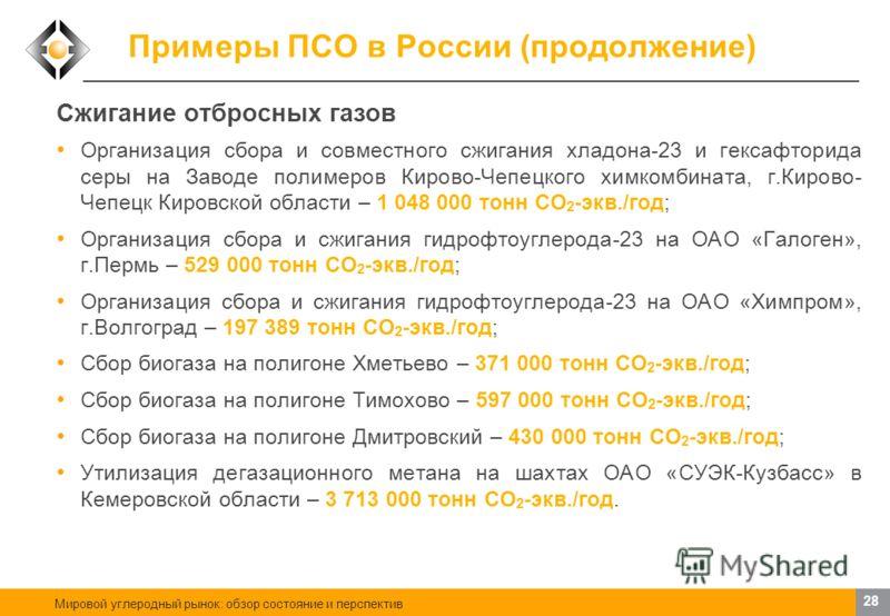 Мировой углеродный рынок: обзор состояние и перспектив 27 Примеры ПСО в России (продолжение) Использование отходов в качестве сырья Строительство линии по производству пеллет из отходов лесопильного производства на Лесозаводе 25, г. Архангельск – 12