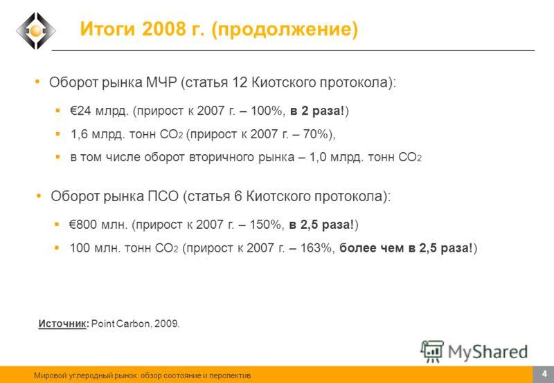 Мировой углеродный рынок: обзор состояние и перспектив 3 Итоги 2008 г. Оборот углеродного рынка в 2008 г., всего - 92 млрд./$122 млрд. (прирост к 2007 г. – 130%, более чем в 2 раза!) 4,9 млрд. тонн СО 2 (прирост к 2007 г. – 83%) Европейская схема тор