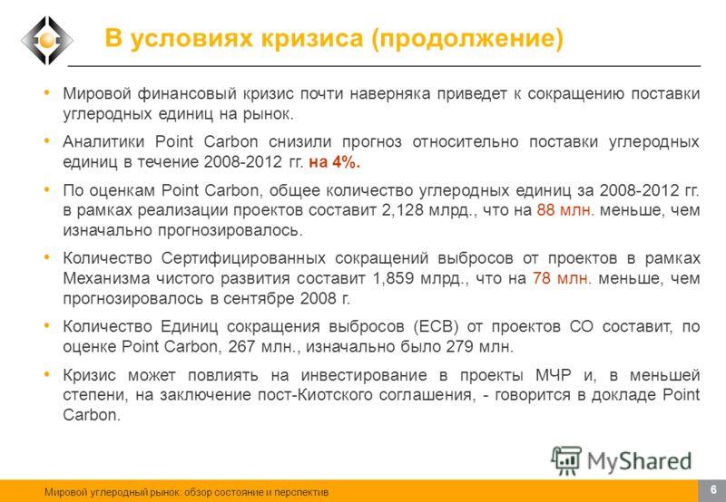 Мировой углеродный рынок: обзор состояние и перспектив 5 В условиях кризиса Источник: Point Carbon, 2009. Дата: 26 января 2009 г. Поставка: декабрь 2009 г. Углеродная единица – EUA Цена: 12.05 (+0.45) Динамика за последние 30 дней