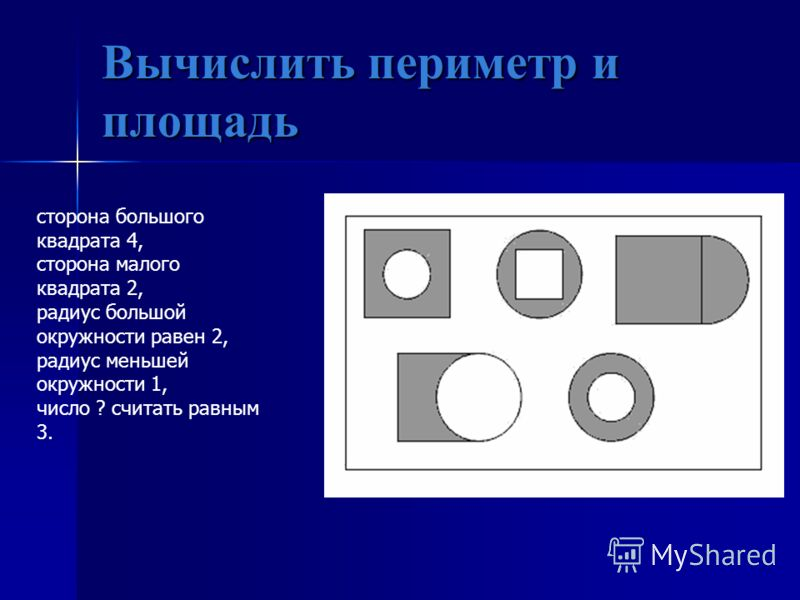 Вычислить периметр и площадь сторона большого квадрата 4, сторона малого квадрата 2, радиус большой окружности равен 2, радиус меньшей окружности 1, число ? считать равным 3.