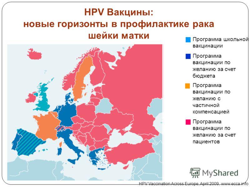 Программа школьной вакцинации Программа вакцинации по желанию за счет бюджета Программа вакцинации по желанию с частичной компенсацией Программа вакцинации по желанию за счет пациентов HPV Vaccination Across Europe, April 2009, www.ecca.info HPV Вакц