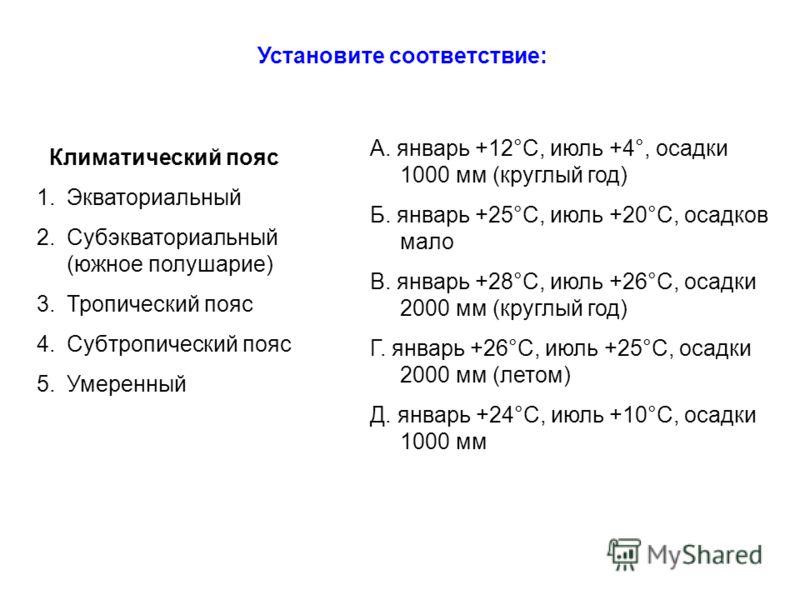 Климатический пояс 1.Экваториальный 2.Субэкваториальный (южное полушарие) 3.Тропический пояс 4.Субтропический пояс 5.Умеренный А. январь +12°С, июль +4°, осадки 1000 мм (круглый год) Б. январь +25°С, июль +20°С, осадков мало В. январь +28°С, июль +26