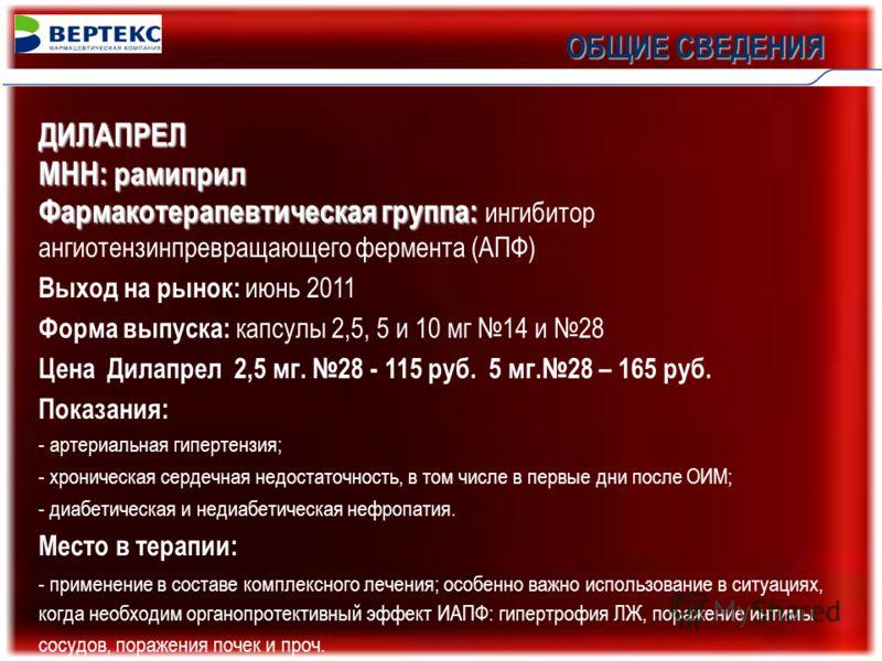ОБЩИЕ СВЕДЕНИЯ ДИЛАПРЕЛ МНН: рамиприл Фармакотерапевтическая группа: Фармакотерапевтическая группа: ингибитор ангиотензинпревращающего фермента (АПФ) Выход на рынок: июнь 2011 Форма выпуска: капсулы 2,5, 5 и 10 мг 14 и 28 Цена Дилапрел 2,5 мг. 28 - 1