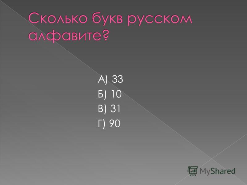А) 33 Б) 10 В) 31 Г) 90