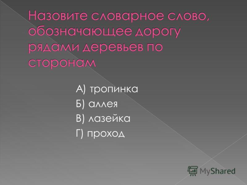 А) тропинка Б) аллея В) лазейка Г) проход