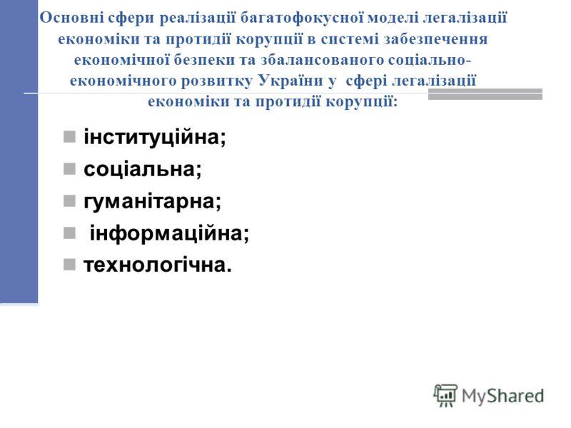 Основні сфери реалізації багатофокусної моделі легалізації економіки та протидії корупції в системі забезпечення економічної безпеки та збалансованого соціально- економічного розвитку України у сфері легалізації економіки та протидії корупції: інстит