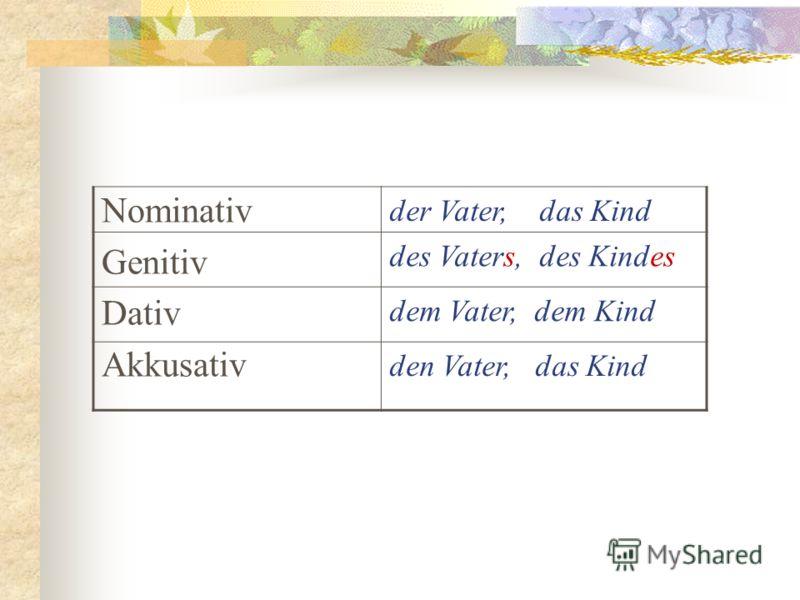 Nominativ Genitiv Dativ Akkusativ der Vater, das Kind des Vaters, des Kindes dem Vater, dem Kind den Vater, das Kind