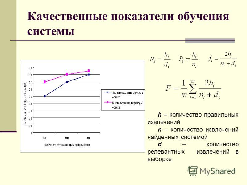 Качественные показатели обучения системы h – количество правильных извлечений n – количество извлечений найденных системой d – количество релевантных извлечений в выборке 37