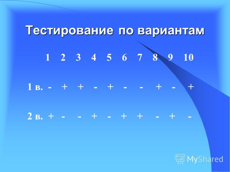 Тестирование по вариантам 1 2 3 4 5 6 7 8 9 10 1 в. - + + - + - - + - + 2 в. + - - + - + + - + -