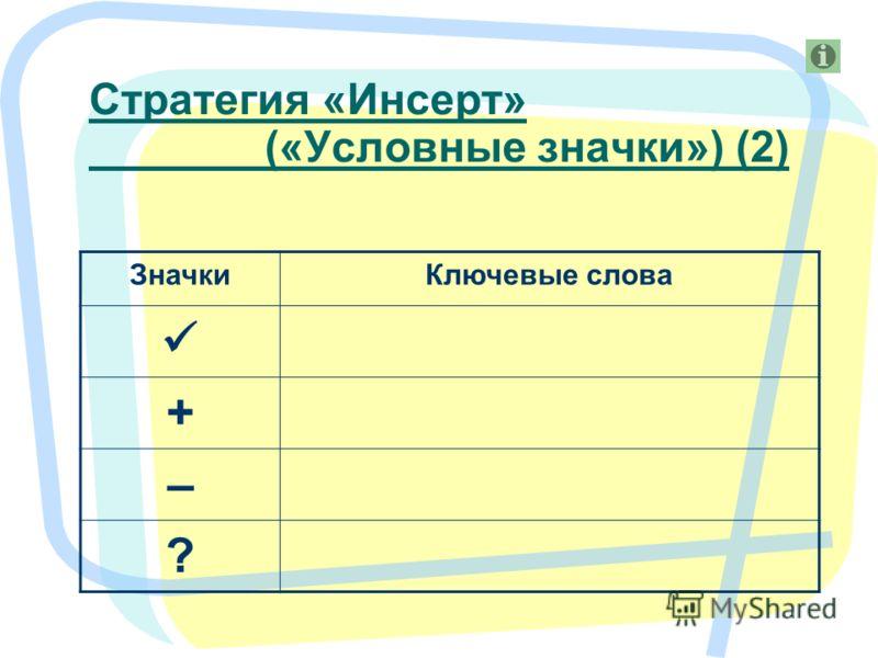 6 ЗначкиКлючевые слова + – ? Стратегия «Инсерт» («Условные значки») (2)
