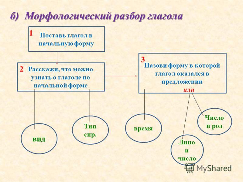б) Морфологический разбор глагола Поставь глагол в начальную форму Расскажи, что можно узнать о глаголе по начальной форме Назови форму в которой глагол оказался в предложении или вид Тип спр. время Число и род Лицо и число 1 2 3