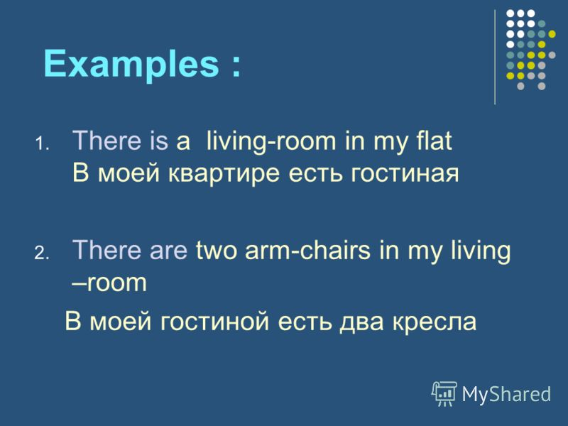 Examples : 1. There is a living-room in my flat В моей квартире есть гостиная 2. There are two arm-chairs in my living –room В моей гостиной есть два кресла