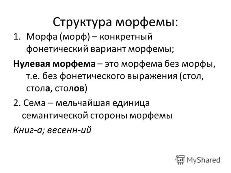 Структура морфемы: 1.Морфа (морф) – конкретный фонетический вариант морфемы; Нулевая морфема – это морфема без морфы, т.е. без фонетического выражения (стол, стола, столов) 2. Сема – мельчайшая единица семантической стороны морфемы Книг-а; весенн-ий