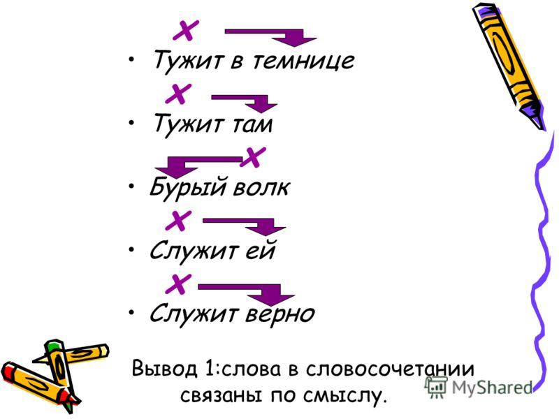 х Тужит в темнице х Тужит там х Бурый волк х Служит ей х Служит верно Вывод 1:слова в словосочетании связаны по смыслу.