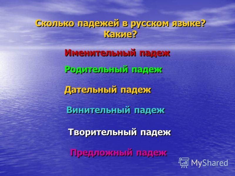 Сколько падежей в русском языке? Какие? Сколько падежей в русском языке? Какие? Именительный падеж Родительный падеж Дательный падеж Винительный падеж Творительный падеж Предложный падеж