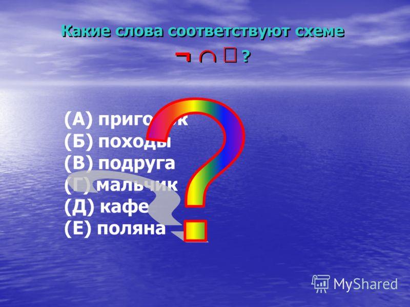 (А) пригорок (Б) походы (В) подруга (Г) мальчик (Д) кафе (Е) поляна Какие слова соответствуют схеме ¬ ? Какие слова соответствуют схеме ¬ ?