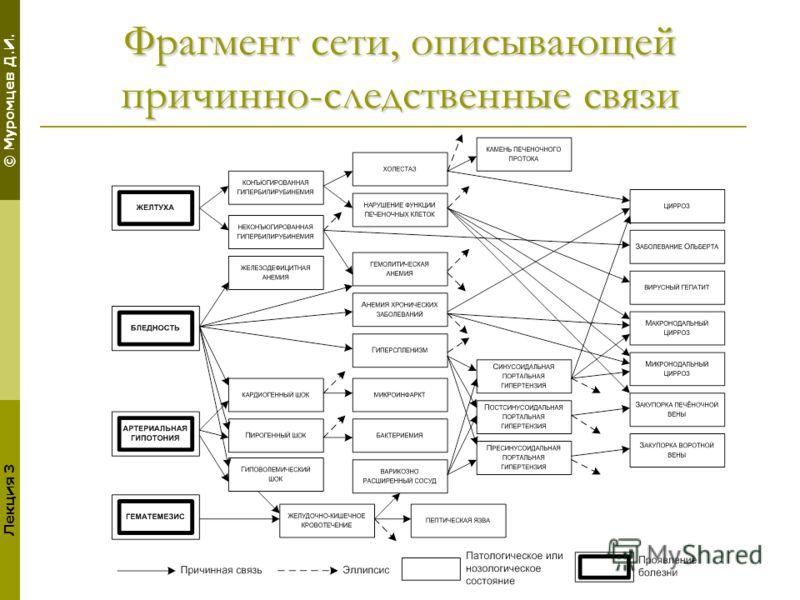 © Муромцев Д.И. Лекция 3 Фрагмент сети, описывающей причинно-следственные связи