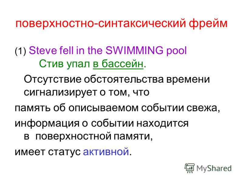 поверхностно-синтаксический фрейм (1) Steve fell in the SWIMMING pool Стив упал в бассейн. Отсутствие обстоятельства времени сигнализирует о том, что память об описываемом событии свежа, информация о событии находится в поверхностной памяти, имеет ст